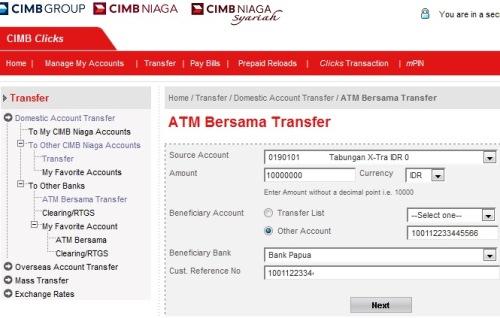 Transfer ATM Bersama CIMB Clicks
